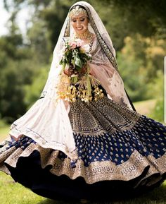 "Asiana Couture ""Portfolio"" Weddig Bridal Lehenga - Bride in Amazing Saree Gown. Designer Bridal Lehenga, Indian Bridal Lehenga, Indian Bridal Outfits, Indian Bridal Wear, Indian Dresses, Blue Bridal, Ball Dresses, Bridal Dresses, Indian Fashion Trends"