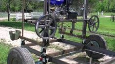 Here is a look at my homemade bandsaw mill. It still needs work, but it does appear to work pretty well. Size is 20 Feet long log capacity) wide . Portable Bandsaw Mill, Homemade Bandsaw Mill, Portable Chainsaw Mill, Portable Saw Mill, Easy Woodworking Diy, Woodworking Projects Diy, Fine Woodworking, Welding Projects, Lumber Mill