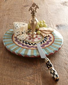 Odd Fellows Cheese Dish & Knife by MacKenzie-Childs at Horchow. Love MacKenzie-Childs......
