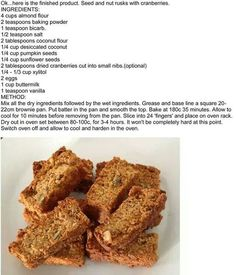 Banting rusks Banting Bread, Banting Diet, Banting Recipes, Low Carb Recipes, Snack Recipes, Cooking Recipes, Healthy Recipes, Gf Recipes, Lchf