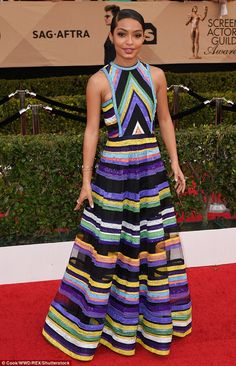 Style star: Yara Shahidi showed she can compete with the best of them when it comes to red carpet fashion at the Screen Actors Guild Awards in Los Angeles, California, on Sunday