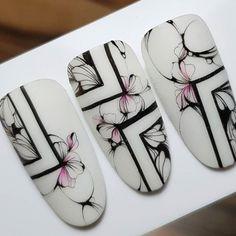 Finger Fun, Nail Stencils, Geometric Nail Art, Nail Candy, Pretty Nail Art, Flower Nails, Nail Tutorials, Pink Nails, Beauty Nails