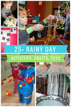 Rainy day activities, crafts, and toys - there's no room for boredom with this list of 25+ ideas for indoor fun! Everything from fun reading activities, to easy-prep games!