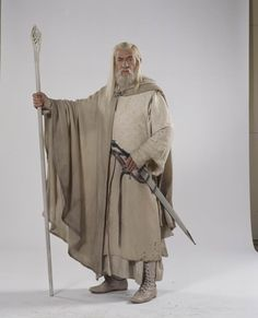 Ian McKellen as Gandalf: The Lord of the Rings and The Hobbit Gandalf, Wizard Costume, Movie Costumes, Baby Musical Instruments, Lotr Trilogy, Toy Theatre, O Hobbit, Ian Mckellen, White Costumes