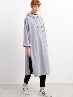 Sweat-shirt long fendu avec capuche - gris-French SheIn(Sheinside)