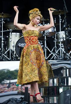 Paloma Faith wearing total look Dolce&Gabbana whilst performing at V-festival in Chelmsford.