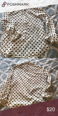 J.Crew popover Cream with Navy polka dot popover. J. Crew Tops Button Down Shirts