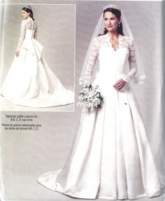 Wedding Dress Gown Sewing Pattern Kate Middleton Princess Catherine Erick Bp249 Sizes