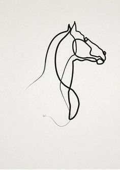 Black line horse silhouette tattoo design