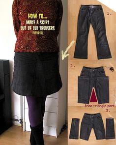 Transformación de pantalón vaquero a falda. Buen tutorial!