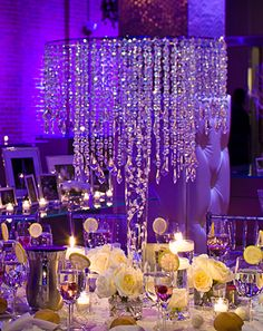Chandelier Centerpiece - or use foamcore or mirror on top and hang ornaments or fabric with ornaments attached at corners