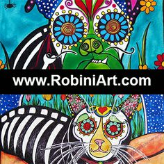 www.robiniart.com  Check it out! #sugarskull #dayofthedead #dogs #cats #design #art