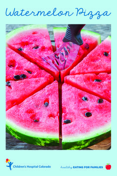 Learn how to make watermelon pizza from the experts at Children's Colorado. This colorful, kid-friendly recipe includes strawberry preserves, white chocolate chips, raisins, chopped walnuts and shredded coconut.