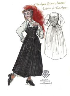 The Game of Love and Chance. (Lisette, the Maid) Costume design by Murell Horton. Croquis, Costume Design, Maid, Opera, Theatre, Stage, Projects, Illustrators, Fashion Figures