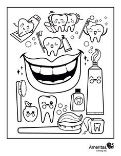 Dentist Coloring Book Page Oral Health, Dental Health, Dental Kids, Health Activities, Art Drawings For Kids, Health Lessons, Craft Projects For Kids, Dental Hygiene, Lessons For Kids