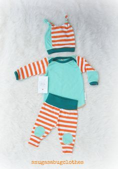 Mint  Citrus Baby Boy Coming Home Outfit with Matching Double Beanie Knot Hat Gift Set