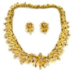 Image of Vintage 1960s Christian Dior Gold Tone Rhinestone Necklace & Earrings Couture Set