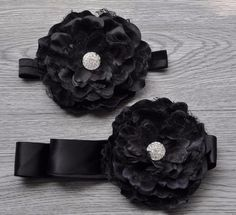 Black Flower Headband Set
