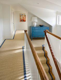 Sisal carpet, blue banded edges
