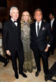 Stylish trio: The silver haired director and the fashion designer posed with Franca Sozzan...