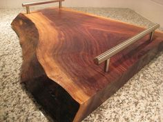 Live Edge Black Walnut Serving Tray by KRW Studios - eclectic - serveware - Etsy for Diy Cutting Board, Wood Cutting Boards, Contemporary Serving Trays, Woodworking Plans, Woodworking Projects, Wooden Serving Trays, Serving Board, Homemade Home Decor, Logs