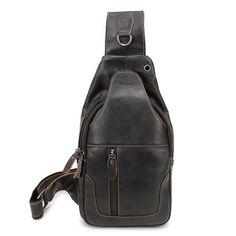 Genuine Leather Casual Sling Bag Men Cross-body Messenger Bag Travel Zipper Bag