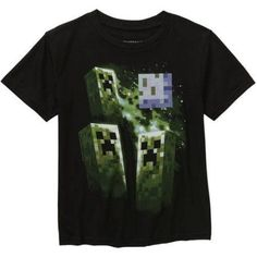Minecraft Creeper Boys Graphic Tee, Size: Small, Black