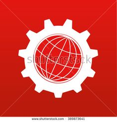 Stylized globe of the Earth inside a gear or cog in white on a red background