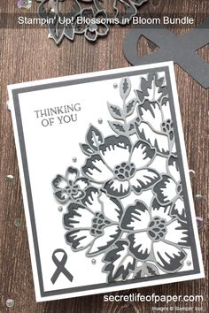 Stampin Up Blossoms in Bloom Bundle, 2020-2021 Annual Catalog, Many Layered Blossoms Dies, Support Ribbons, Brain Cancer Awareness, Gray Cards, Floral Cards  #stampinup #blossomsinbloom #stampinupcards #braincancerawareness #sneakpeek Stampin Up Karten, Brain Cancer Awareness, Stampin Up Catalog, Stamping Up Cards, Sympathy Cards, Flower Cards, Scrapbook Cards, I Card, Making Ideas