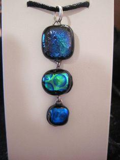 AQUA LINDA dichroic glass handmade silver pendant by EWArtistry, $44.50