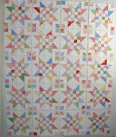 Cute Scrappy Quilt by Darlene. Pattern by amber Johnson @ alittlebitbiased.blogspot.com. Pattern - Scrap Jar Stars.