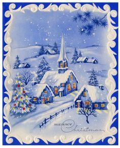 Vintage Christmas Card - Merry Christmas Blue Scene