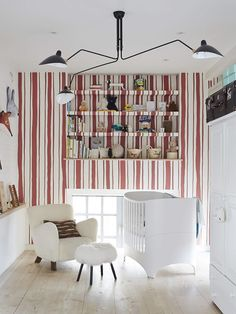 amazing kids room decor with all white walls and one accent wall in white and red stripes, red and white vertical striped wall in kids room, nursery room decor, white nursery decor with red and white striped accent wall Soho, Cool Kids Rooms, Cute Dorm Rooms, Nursery Room, Kids Bedroom, Bedroom Decor, Nursery Ideas, Baby Room, Red Nursery