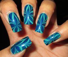 ♥♥♥May Simple Little Pleasures: NOTD: Blue & Green Star Water Marble +Tutorial