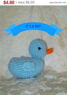 Crochet  Blue Duck Crochet Rubber Ducky Handmade Baby Duck