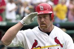 Mark McGwire who broke Roger Maris' single season home run record. Later found to have been fuelled by steroids Cardinals Baseball, St Louis Cardinals, Famous Baseball Players, St Louis Baseball, Sports Celebrities, Sports Birthday, Thanks For The Memories, Oakland Athletics, Major League