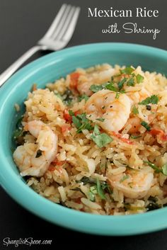 Mexican Rice with Shrimp via www.spanglishspoon.com