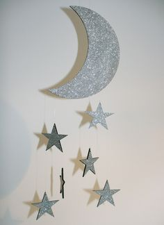 Laser cut Plywood Mobile Night Sky with Glitter