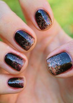 China Glaze On Safari nail art - glitter gradient with Prey Tell and I Herd That Glitter Acrylics, Glitter Nail Art, Black Glitter, Black Sparkle, Gradient Nails, Toe Nails, Fancy Nails, Trendy Nails, Sparkle Nails