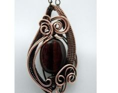 Red Tiger Eye Wire Wrapped Copper Pendant Necklace, Handmade Wire Jewelry, Antiqued Copper