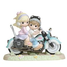 Precious Moments Figurines | Precious Moments 34 Our Love Goes The Distance 34 Motorcycle Figurine