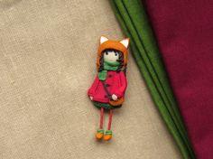 Doll Brooch fox  jewellery fox  Brooch girl Handmade brooch cherry Jewelry brooch doll Brooch  as a gift Jewelry for girl fox pin fox brooch