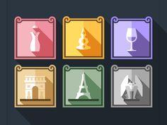 Memories of Paris by Oleg Beresnev Badge Design, Icon Design, Communication Art, Flat Illustration, Illustrations, Screen Design, All Icon, Pictogram, Icon Pack