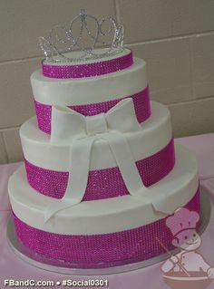SOCIAL 0301 | Quinceanera Cake | Three Tier Buttercream Cake with Rhinestone Band and White Bow, Tiara Topper.