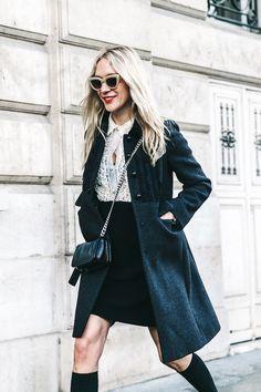 Chloë Sevigny // cat-eye sunlgasses, ruffle top, crossbody bag, coat, skirt and knee-high socks