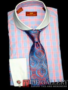 Dress Shirt by Steven Land White Spread Collar FrenchCuffs Blue DS1011P
