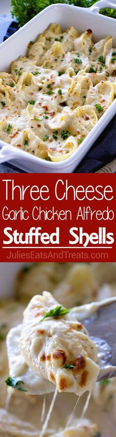 Jumbo Pasta Shells Stuffed with Three Kinds of Cheese and Topped with Creamy Alfredo Sauce! These Chicken Alfredo Stuffed Shells are perfect for a Quick, Easy Dinner or Lunch! Visit julieseatsandtrea... for more easy, family, friendly recipes and stress-free dinner time! #familydinner #pasta
