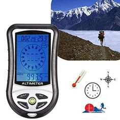 tent camping hacks Digital LCD 8 In 1 Compass Altimeter Barometer Thermometer Weather Forecast History Clock Calendar Hiking Hunting Campass tool *** Click the image for detailed description on AliExpress website