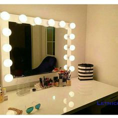 Xl Vanity Mirror With Hollywood lighting.perfect for Ikea Vanity... ($225) ❤ liked on Polyvore featuring bedroom furniture, black, furniture, home & living and vanities & nightstands