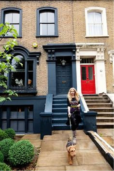 This four-story Victorian terraced house is the London home of fabulous British interior designer, Abigail Ahern, where she resides with her husband. Grey Window Frames, Grey Windows, Windows And Doors, Window Frame Colours, Painted Window Frames, Red Doors, House Windows, Exterior Colors, Exterior Paint